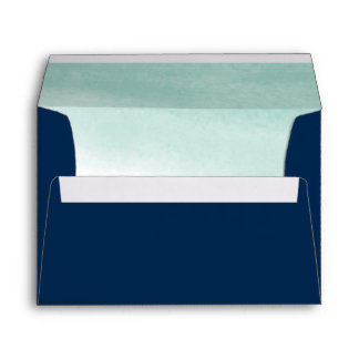 Seaglass Tides Navy and Green Watercolor Lined Envelope