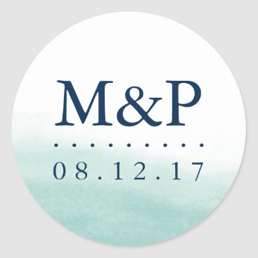 Beach Themed Seaglass Tides Wedding Monogram Classic Round Sticker