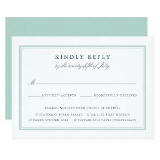 Seaglass Tides Wedding RSVP Card W Meal Choice
