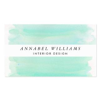 Seaglass Watercolor White Stripe Business Card