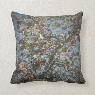 Seagrape plant, pinhole camera style, blue sky throw pillows