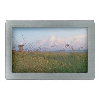 seagrass beach dunes florida lifeguard house rectangular belt buckle