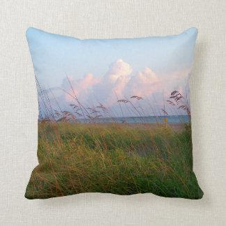 seagrass beach dunes florida lifeguard house throw pillow