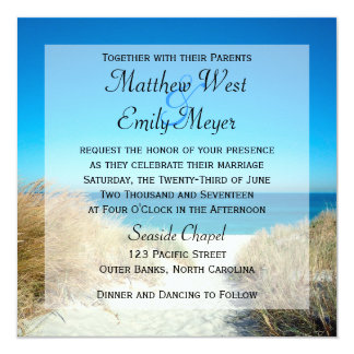 """Seagrass Beach Wedding Invitations 5.25"""" Square Invitation Card"""