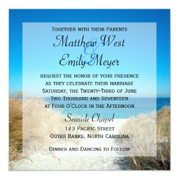 Beach Themed Seagrass Beach Wedding Invitations