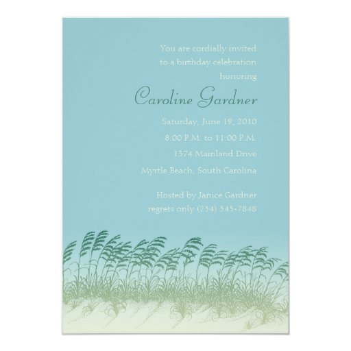"Seagrass on the Dunes Birthday Invitation 5"" X 7"" Invitation Card"