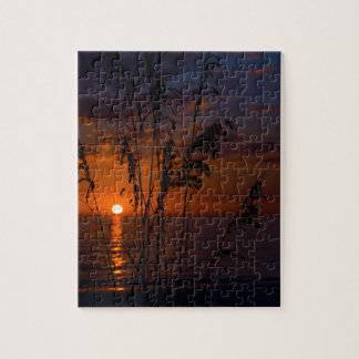 Seagrass Sunset Silhouette Jigsaw Puzzles