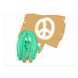 seagreen white peace postcard