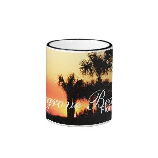 Seagrove Beach, Florida - Sunset and palm trees Ringer Coffee Mug