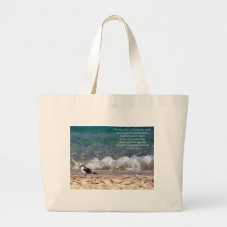 Seagull and Crashing Waves Large Tote Bag