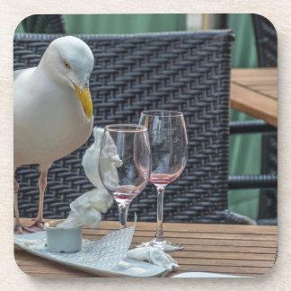 Seagull and empty glasses hard plastic coasters