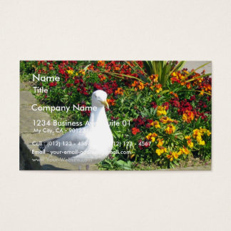 Seagull And Flowers In Whitby Business Card