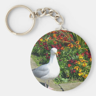 Seagull And Flowers In Whitby Basic Round Button Keychain