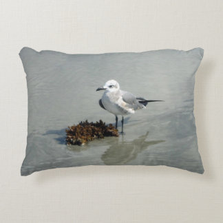 Seagull and Seaweed on Beach Accent Pillow