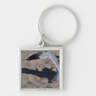 Seagull and shadow. Neat effect on sand! Silver-Colored Square Keychain