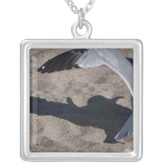 Seagull and shadow. Neat effect on sand! Square Pendant Necklace