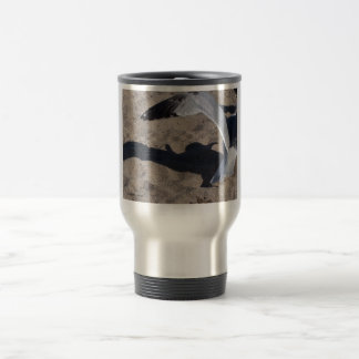 Seagull and shadow. Neat effect on sand! Travel Mug