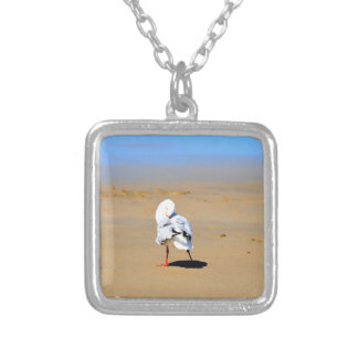 SEAGULL AT BEACH IN QUEENSLAND AUSTRALIA SQUARE PENDANT NECKLACE