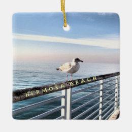 Seagull at Hermosa Beach Ceramic Ornament