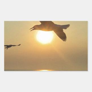 Seagull at Sunset Rectangular Sticker
