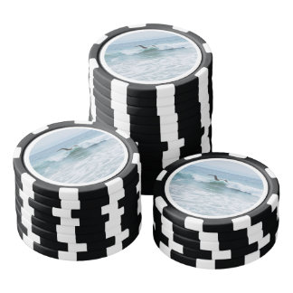 Seagull at the Beach in California Poker Chips Set