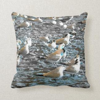 seagull beach birds painted blue theme florida throw pillows
