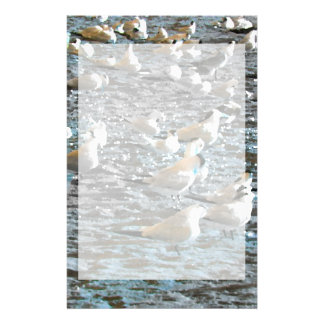 seagull beach birds painted blue theme florida stationery