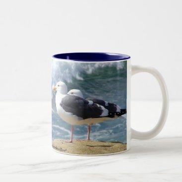 Coffee Themed Seagull Beach Break Mug