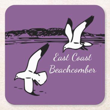 Beach Themed Seagull Beach East Coast Beachcomber drink coaster