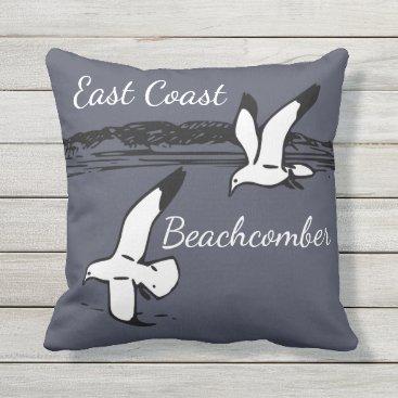 Beach Themed Seagull Beach East Coast Beachcomber outdoor Outdoor Pillow