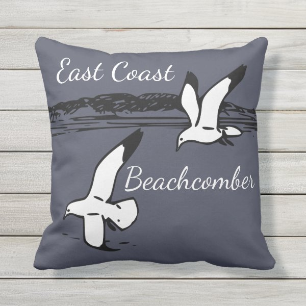 Seagull Beach East Coast Beachcomber outdoor Outdoor Pillow