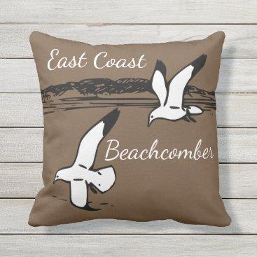 Beach Themed Seagull Beach East Coast Beachcomber outdoor Throw Pillow