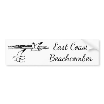 Beach Themed Seagull Beach EastCoast Beachcomber bumper sticker