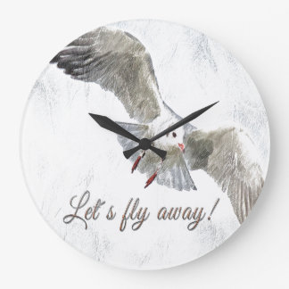 """Seagull beach """"let's fly away"""" wall-clock large clock"""