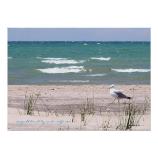 Seagull Beach Watercolor Print