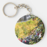 Seagull behind a field of flowers keychains