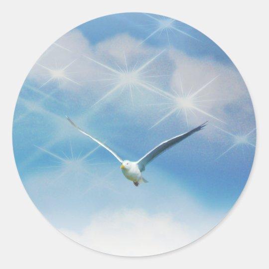 Seagull Bird in Flight Photo Classic Round Sticker