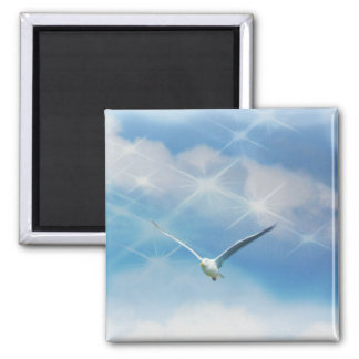 Seagull Bird in Flight Photo Magnet