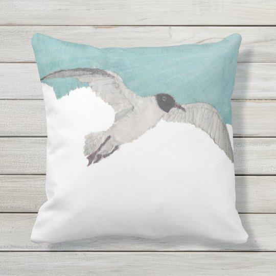 Seagull Bird Sky Coastal Beach Themed Throw Pillow