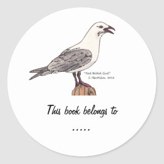 Seagull Book Plate Labels Classic Round Sticker