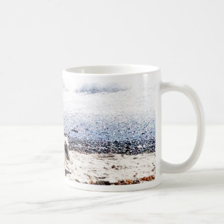 seagull by the ocean on the beach picture coffee mug