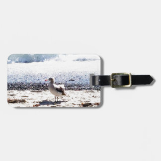 seagull by the ocean on the beach picture luggage tag