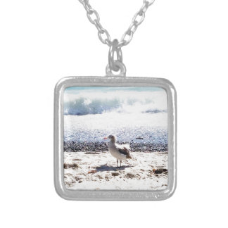 seagull by the ocean on the beach picture silver plated necklace