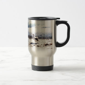 seagull by the ocean on the beach picture travel mug