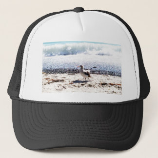 seagull by the ocean on the beach picture trucker hat