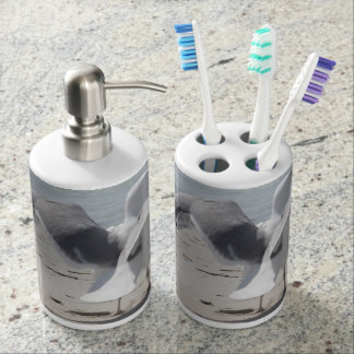Seagull coastal photo soap dispenser & toothbrush holder