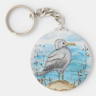 Seagull Design Basic Round Button Keychain