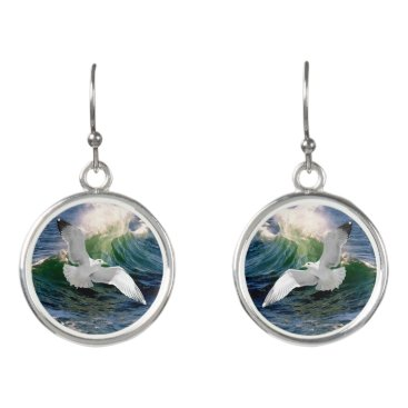 "Beach Themed ""Seagull"" Drop Earrings"