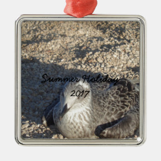 Seagull Enjoying The Sun Summer Photography Metal Ornament