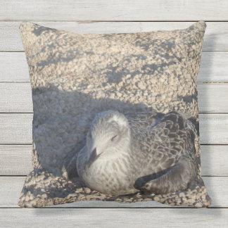 Seagull Enjoying The Sun Summer Photography Throw Pillow